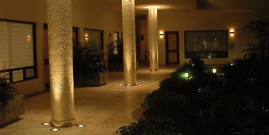 Courtyard area at night